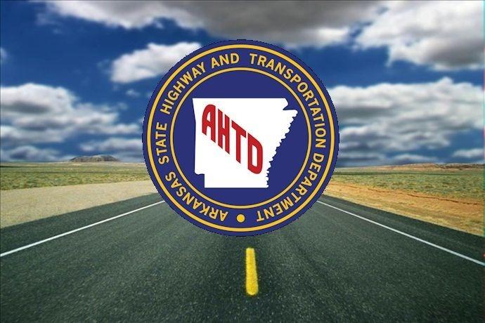 Arkansas Highway & Transportation Dept. Logo over generic highway graphic, AHTD logo_6157928107943611223
