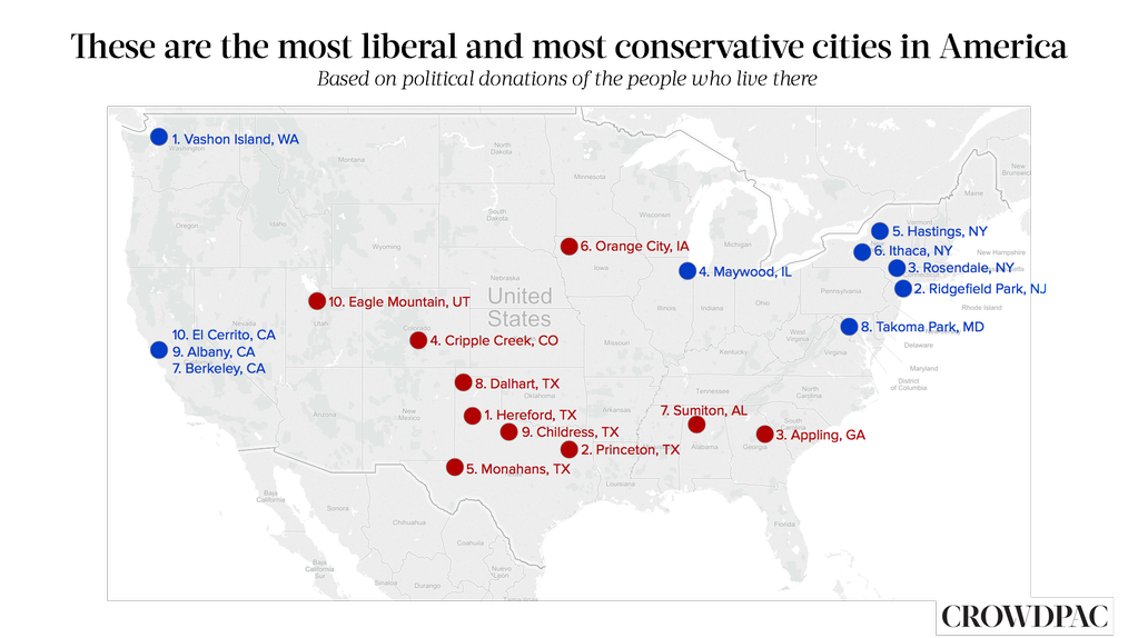 Most Liberal and Conservative American Cities