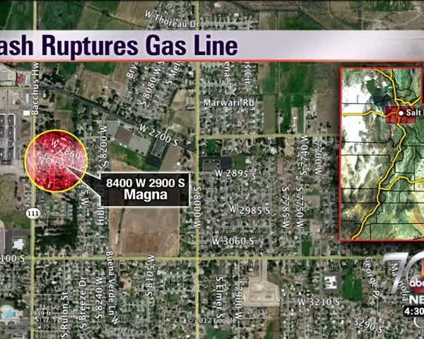 Crash ruptures gas line in Magna_83443782