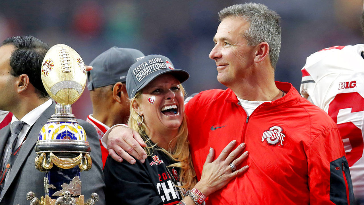 The Republican was asked to weigh in on Ohio State University's decision to place Meyer on paid administrative leave Wednesday over the handling of a longtime assistant who has been accused of domestic violence.