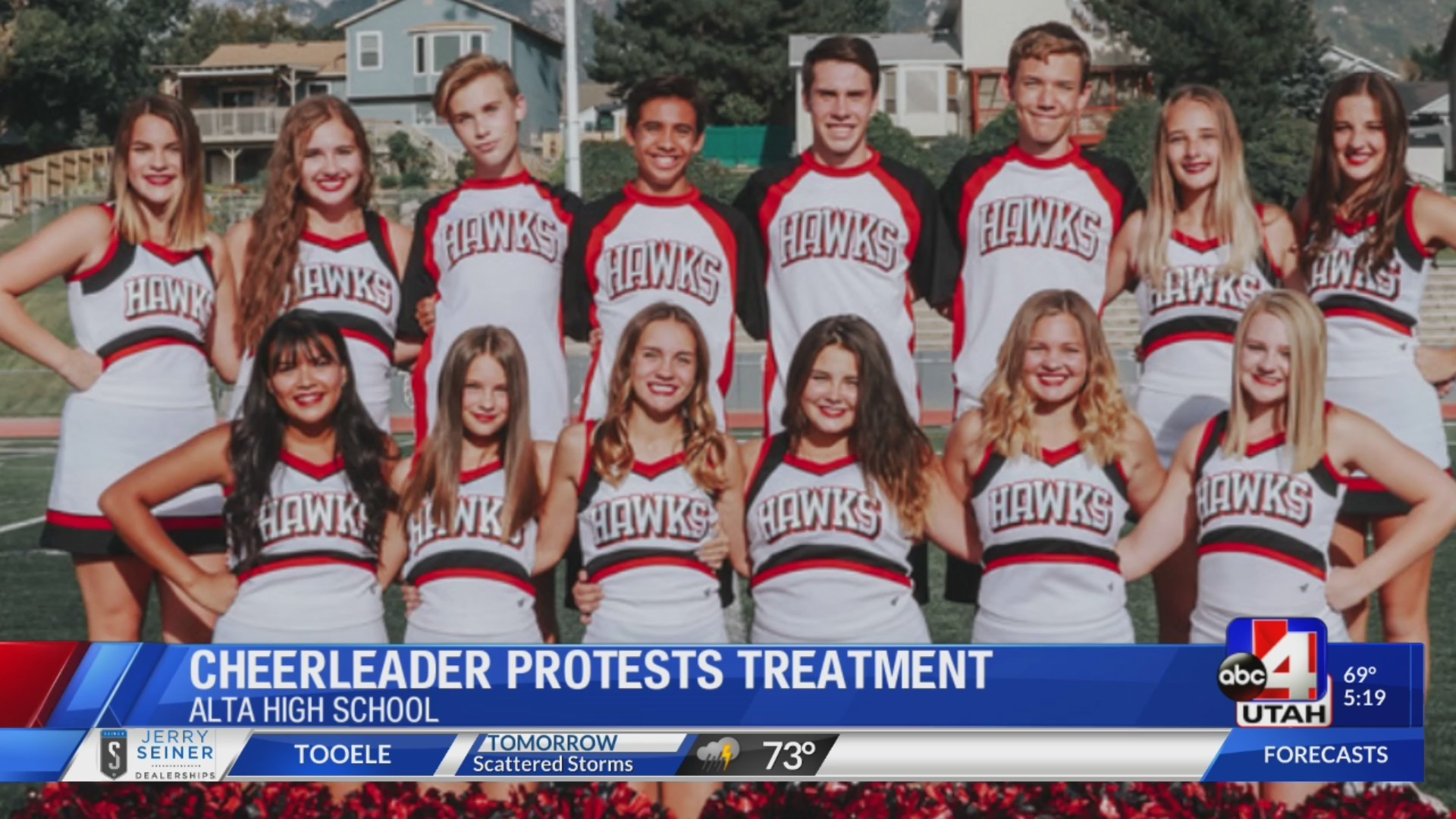 Alta High cheerleader says he was threatened by coaches for kneeling during national anthem