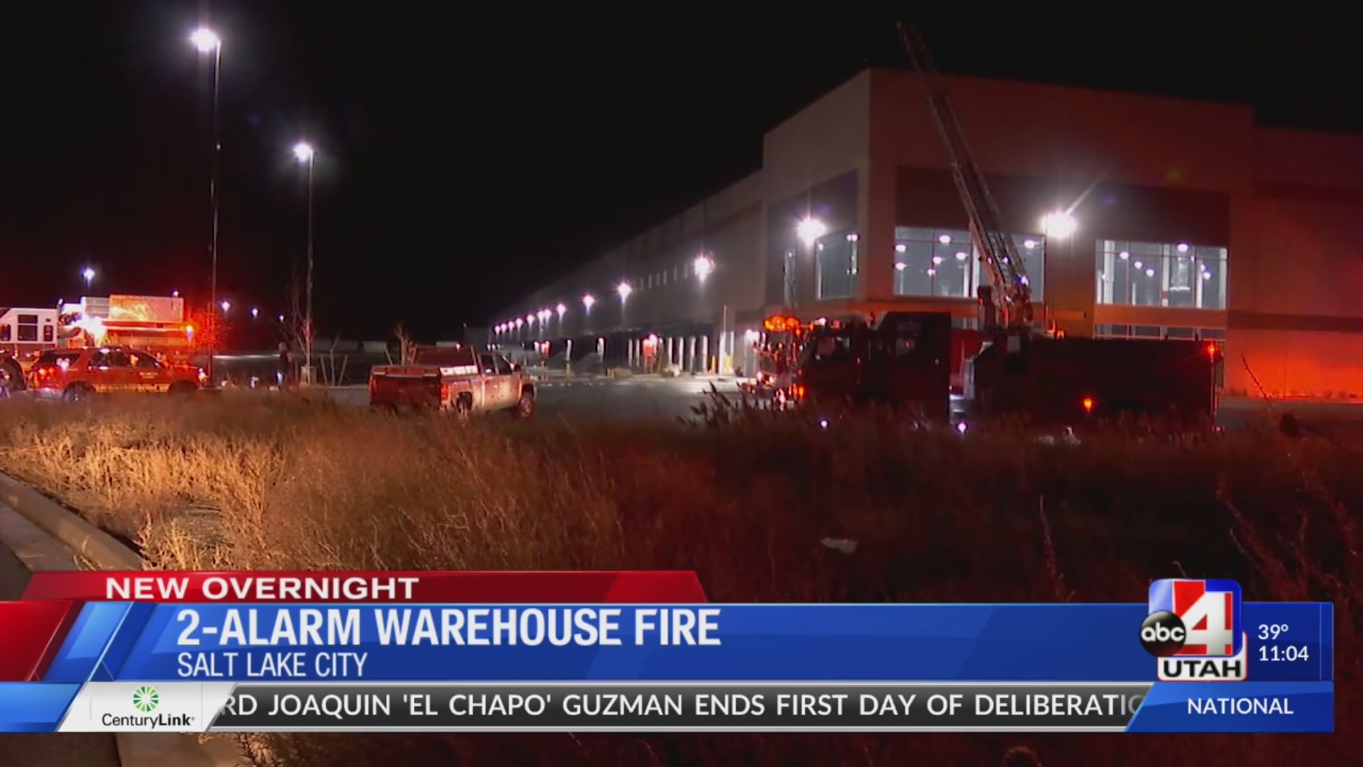 SLC warehouse fire with 40-foot flames