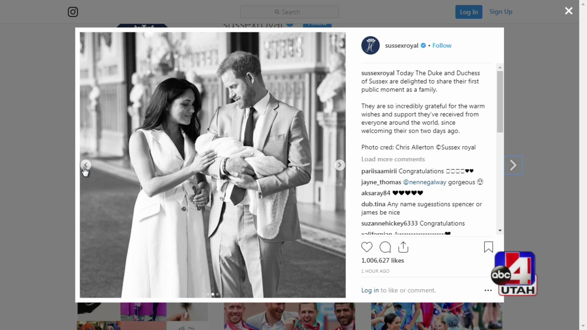 Table Talk showing the royal new baby