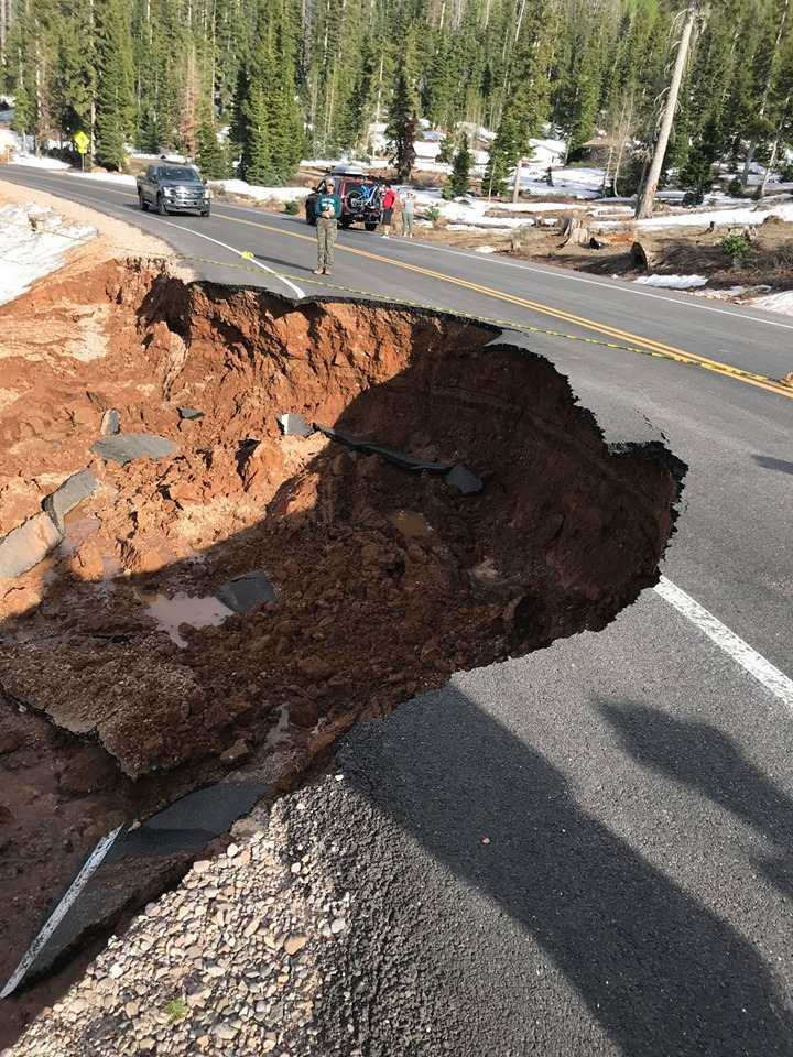 Damage to a road west of the Navajo Lake Campground caused by spring runoff