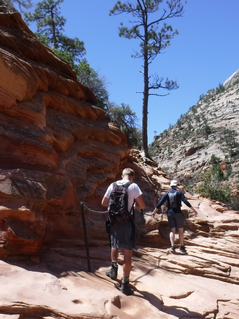 Narrow portions of Angels Landing Trail require chains to traverse.