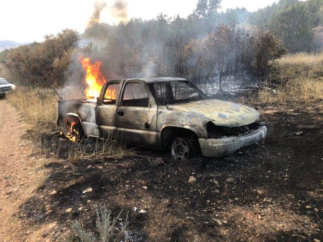 Pickup truck blaze starts wildfire in Utah County, crews currently on scene