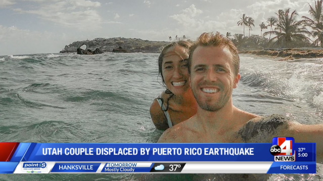 With future unknown, couple displaced by Puerto Rico earthquake returns to Utah