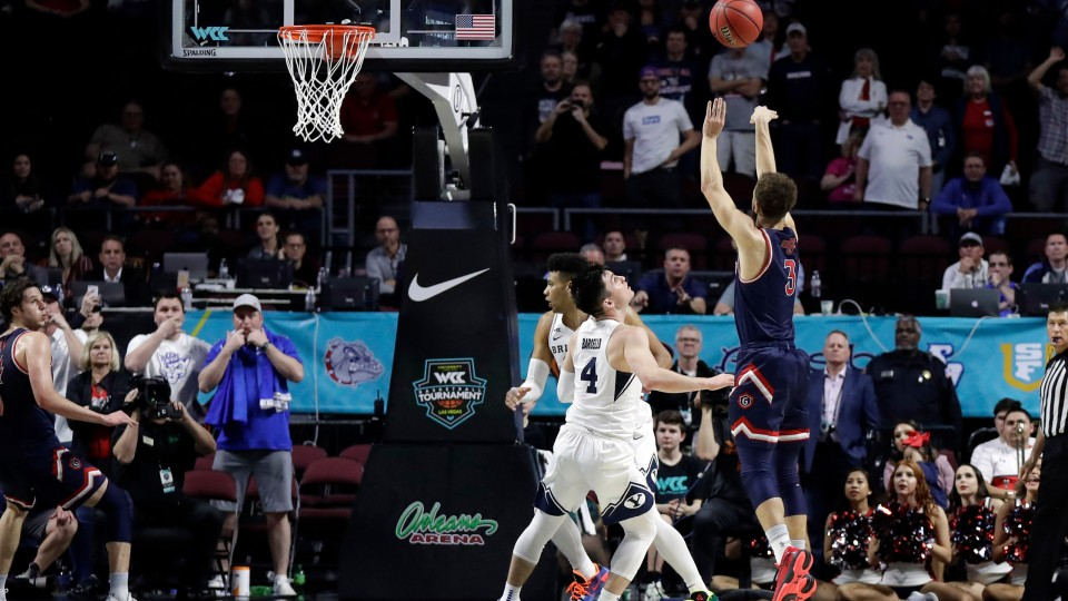 Saint Mary's senior guard, Jordan Ford played very well, as he scored 18 points and made the game-winning basket to lead his team to a win over BYU in the West Coast Conference tournament.  (Photo: Isaac Brekken/The Associated Press, via ABC4.com.)