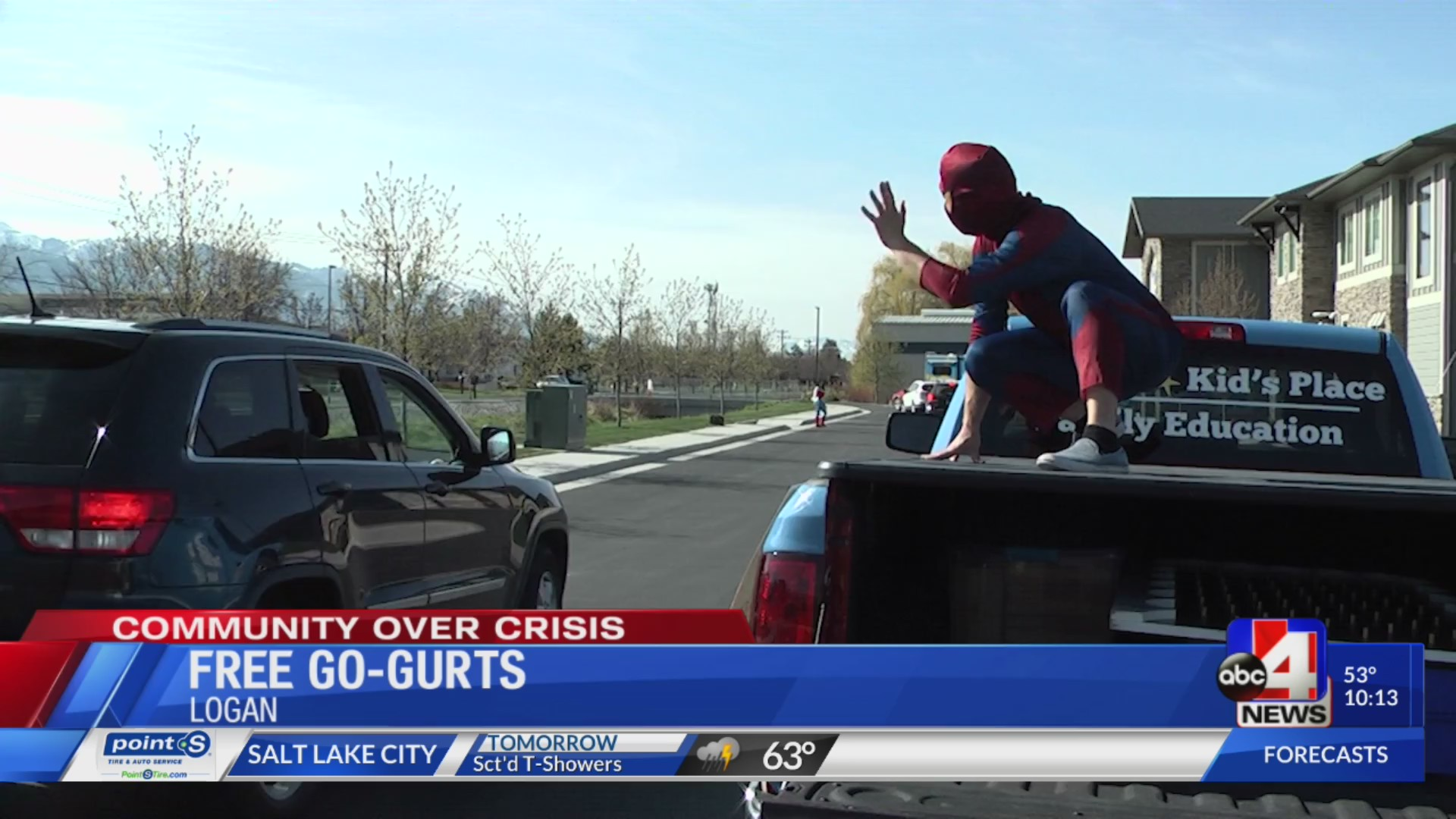 Spider-man helped distribute free Go-GURT to families at the Family Place in Logan Saturday.