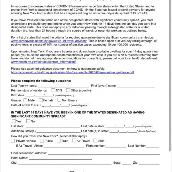 New York State Traveler Health Form