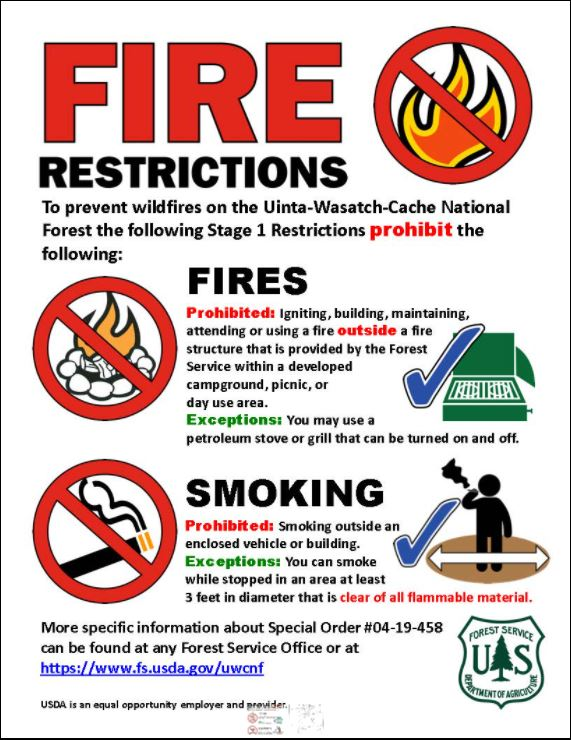 Stage I Fire Restrictions Order Terminated.