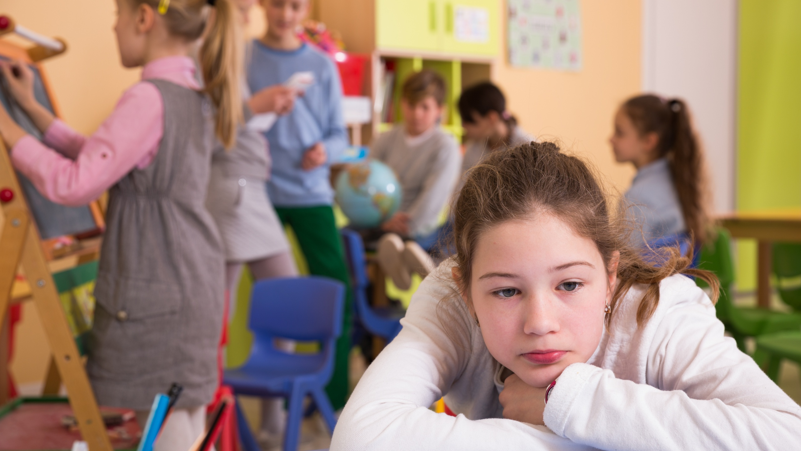 Kids stressed in classroom